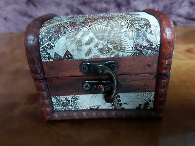 Rustic Wooden Colonial Style Trunk Treasure Chest Vintage Paisley Storage Box