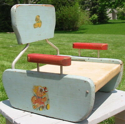 Vtg Antique Ty-Nee-Tot Childs Toy Booster Chair Dog Ball Decals Vinyl Seat Old