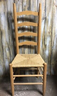 Antique Shaker Style Ladder Back Accent Chair Rush Woven Seat Spindle Leg