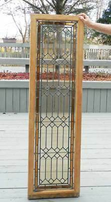 Antique LEADED STAINED AMERICAN   WINDOW  / DOOR   - TALL