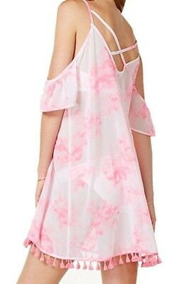 2eec45a487 Miken Swim Pink Tie-Dye Cross Back Cold Shoulder Swimsuit Cover-Up X-