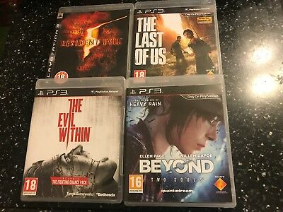 4 Playstation 3 Ps3 Games The Last Of Us Evil Within Resident 5 Beyond Two Souls