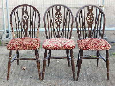 3x vintage solid oak wheel back dining chairs with upholstered seats for restore