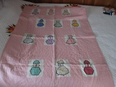 VTG GIRLS HAND EMBROIDERED QUILTED NURSERY CRIB QUILT BLANKET PINK ~Boys & Girls