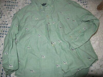 euc Lands' End green pointer dog long sleeve button shirt boys 5 free ship USA