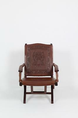 1960 Mid Century Peruvian Hand Tooled Leather Lounge Chair