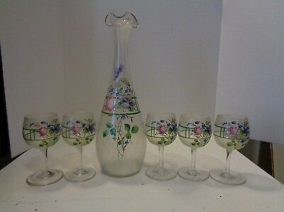 Vintage Glass Ewer Cocktail Set Clear Glass Hand Painted Floral Pattern