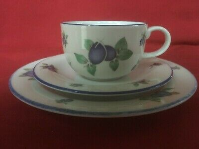 Superb Royal Doulton Blueberry Fine China TC1204 Trio (Cup, Saucer & Sideplate)