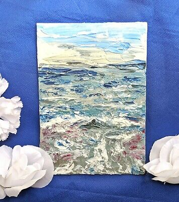 Worried Ocean - Abstract Blue Small Oil Painting on Canvas using Palette Knives