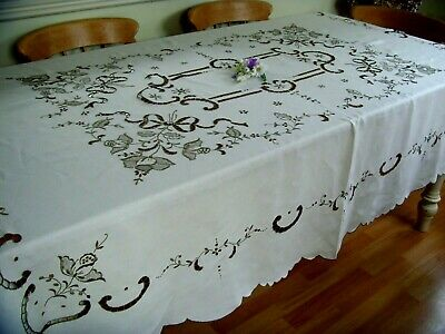 """Vintage Large Linen Hand Embroidered Madeira Tablecloth ~ Roses & Bows 88"""" X 67"""""""