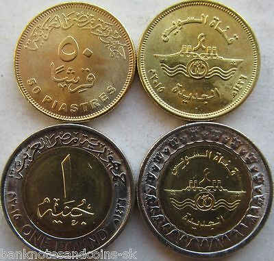 EGYPT COMMEMORATIVE COIN SET 50 Piastres + 1 Pound 2015 UNC SUEZ CANAL LOT of 2