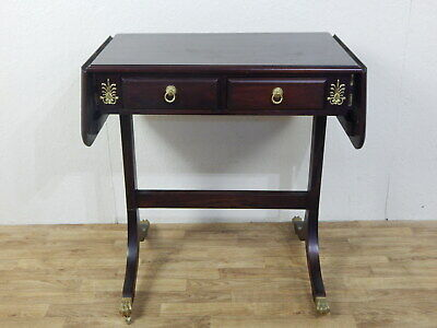 Antique reproduction dark mahogany drop leaf two drawer side table writing desk