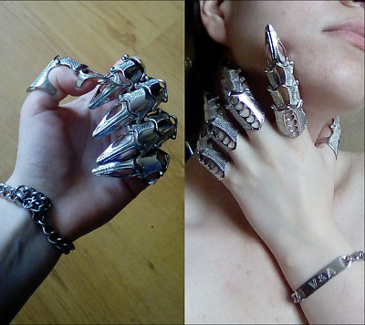 Full Finger Ring Claw Ring Skull Gothic Armor Punk Knight Knuckle Unisex Jewelry