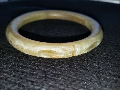 Antique 1940s Celluloid Light Marbled Green and Brown Hand Carved Bangle