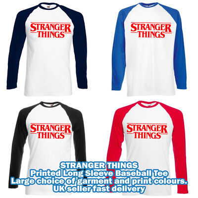 STRANGER THINGS T Shirt Baseball long sleeve Hawkins tv show logo eleven retro