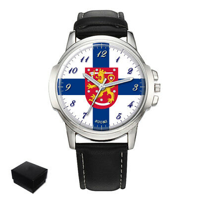 Finland Suomi  Flag Coat Of Arms Gents Mens Wrist Watch  Gift Engraving