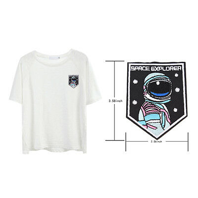 embroidery sew iron on patch astronaut badge transfers cloth fabric applique GK