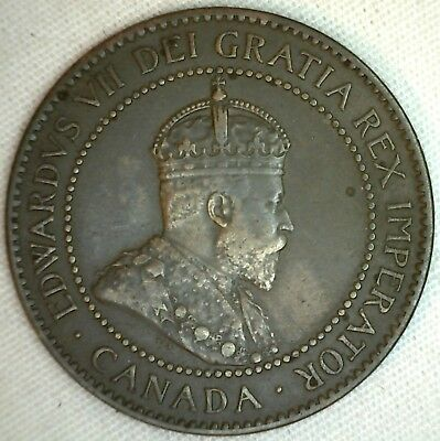 1906 Copper Canadian Large Cent Coin 1-Cent Canada XF K3
