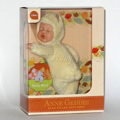 ANNE GEDDES DOLLS 'BEAN FILLED' collection NEW in Box BABY BEAR YELLOW Doll 9''