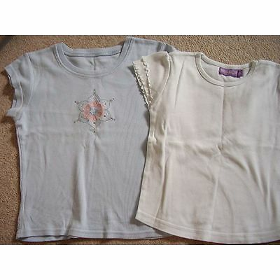 Girls blue and white tops,M&S ,Size 4- 5-6 years,set of 2
