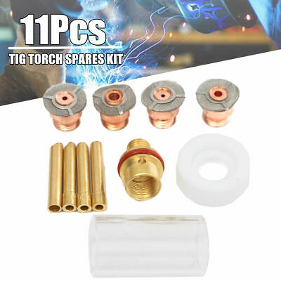 """Kit Pyrex Cup Gas Lens Diffuser Kit 3/32"""" 1/8"""" For WP-17 18 11pcs High Quality"""