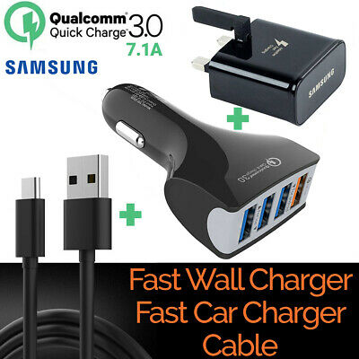 Genuine Fast Type C USB-C Wall Car Charger Charging Cable For Samsung S8 S9 S10