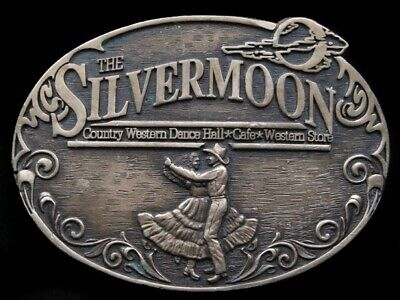 RK01105 VINTAGE 1980s **THE SILVERMOON** COMMEMORATIVE SOLID BRASS BELT BUCKLE