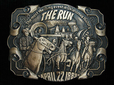 QI13137 VINTAGE 1980s **THE RUN** OKLAHOMA COMMEMORATIVE SOLID BRASS BELT BUCKLE