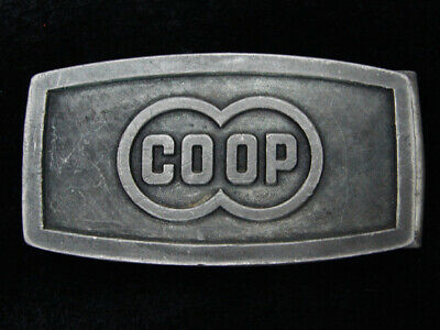 QH13117 VINTAGE 1970s **CO-OP** AGRICULTURE AND FARMING PEWTER BELT BUCKLE