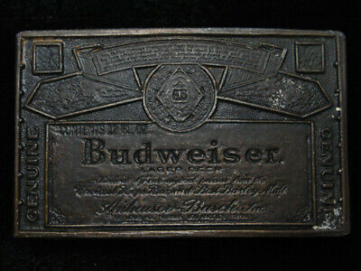 QK09103 VINTAGE 1970s **GENUINE BUDWEISER LAGER BEER** BELT BUCKLE