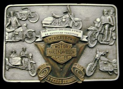 Qe04130 *Nos* 1983 Official Harley-Davidson **75 Years Strong** Collector Buckle