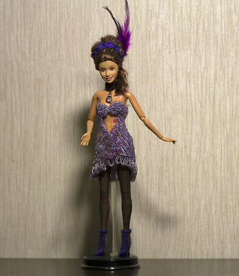 Fashion doll crochet Handmade beaded sequins Showgirl gown