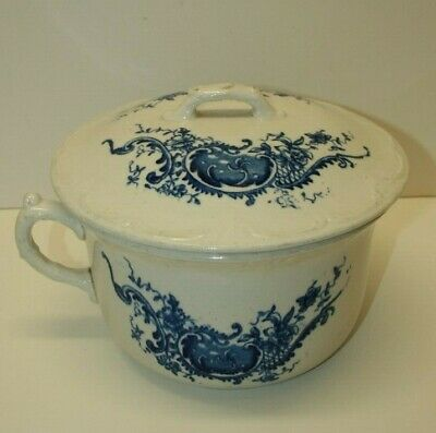 Old BLUE and WHITE Ironstone Chamber Pot