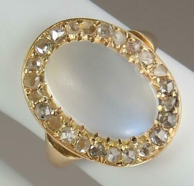 Wow! Antique Art Deco 18K Gold 4ct Moonstone Cabochon Diamond Cluster Ring 5.75