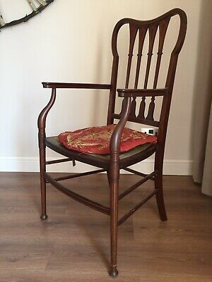 Edwardian Antique Solid Mahogany Upholstered Bedroom/Occasional Chair