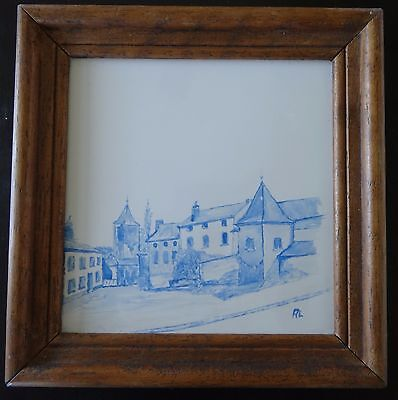 VINTAGE signed AL SPHINX HOLLAND HAND PAINTED TOWN VIEW FRAMED TILE