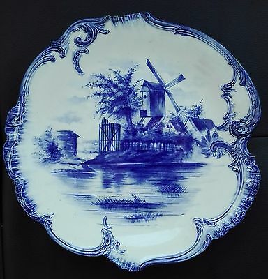 ANTIQUE 1900s signed Franz Anton Mehlem GERMANY ROYAL BONN PLATE WINDMILL RIVER