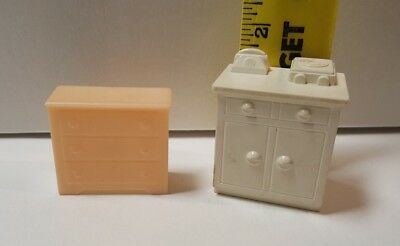 VINTAGE MARX PLASTIC DOLL FURNITURE 2 Pc Chest & Telephone Record Player Cabinet
