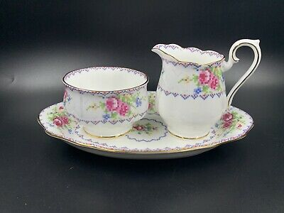 Royal Albert Petit Point Small Creamer Sugar Bowl With Tray Bone China England