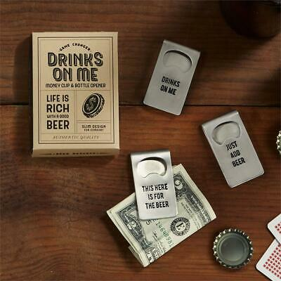 Two's Company Stainless Steel Bottle Opener / Money Clip - Different Phrases