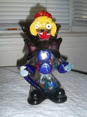 Beautiful Vintage Murano Art Glass Clown Figurine 9 Inches Tall