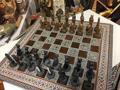 Egyptian Chess Set and  Mother Of Pearl  Wood Board Made In Egypt