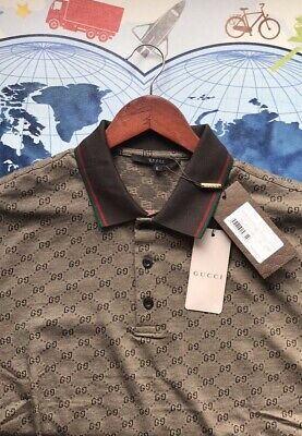 1fdee6ca6 AUTHENTIC GUCCI MEN'S Polo Shirt Brown Size:Large NWT - $315.00 ...