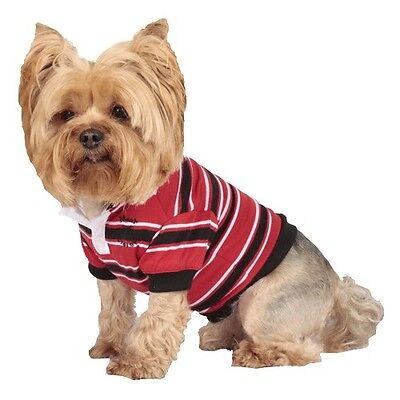 Dog Cat Puppy Clothes Apparel Red White Black Stripe Polo Shirt