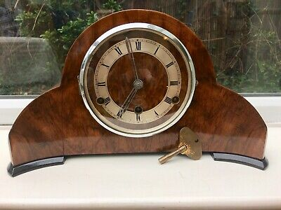 lovely Art Deco 'Perivale' Walnut 8 day Mantel Clock with Westminster Chimes