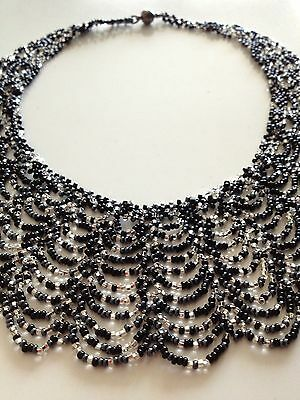 Glass Bead BLACK SILVER Collar Cascade Scalloped NECKLACE Boho Chic Hippie