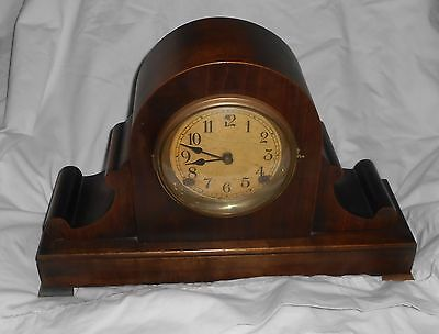 "Antique 1915 ""Dawson""  8-DAY CAMEL BACK MANTLE CLOCK Cathedral Gong turn back"
