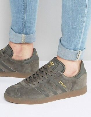 ADIDAS GAZELLE UTILITY Grey Suede Gum Brown GOLD Sneakers Shoes ...