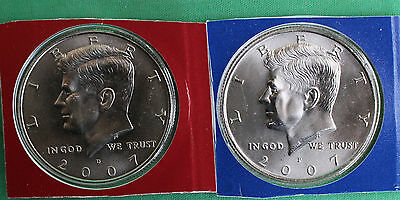 2008 P /& D Kennedy Half Dollar Coin from US Mint Set 2 BU Cello Fifty Cent 50c