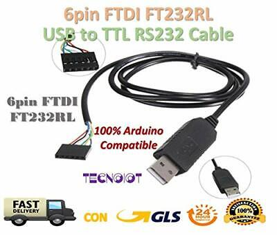 TECNOIOT 6Pin FTDI FT232RL USB To Serial Adapter Module USB TO TTL RS232 Arduin